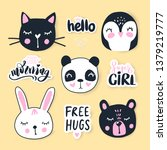 vector set with cartoon animals ... | Shutterstock .eps vector #1379219777
