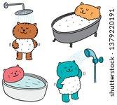 vector set of cat bathing | Shutterstock .eps vector #1379220191