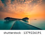 beautiful sunset at maldivian... | Shutterstock . vector #1379226191