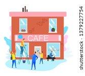 people prepare cafe building... | Shutterstock .eps vector #1379227754