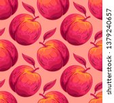 peach vector seamless pattern.... | Shutterstock .eps vector #1379240657