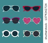 vector sunglasses set with .... | Shutterstock .eps vector #1379242724
