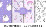 set of cute hand drawn unicorn... | Shutterstock .eps vector #1379255561