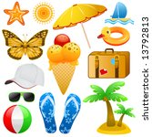 summer and travel objects vector | Shutterstock .eps vector #13792813