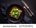 toasted toast with ricotta...   Shutterstock . vector #1379293991