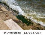 Ocean Sea Tide Breaking Over...