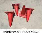 red traffic cone on gray cement ... | Shutterstock . vector #1379528867