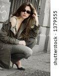 girl standing alone against a... | Shutterstock . vector #1379555