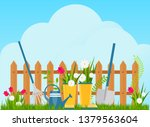 garden cart with flower pots... | Shutterstock .eps vector #1379563604