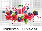 realistic forest berries juice... | Shutterstock .eps vector #1379565581