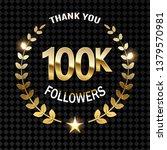100000 followers thank gold... | Shutterstock .eps vector #1379570981