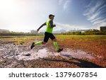 man with grey beard running on... | Shutterstock . vector #1379607854