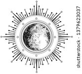 triple moon pagan wicca moon... | Shutterstock .eps vector #1379623037
