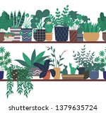greenhouse with plants vector ... | Shutterstock .eps vector #1379635724
