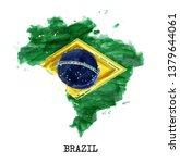 brazil flag watercolor painting ... | Shutterstock .eps vector #1379644061