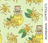 seamless pattern with ylang... | Shutterstock .eps vector #1379701271