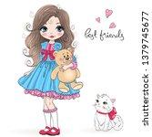 hand drawn beautiful cute... | Shutterstock .eps vector #1379745677
