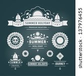 retro summer design elements.... | Shutterstock .eps vector #137976455
