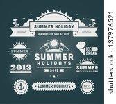retro summer design elements.... | Shutterstock .eps vector #137976521
