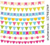vector birthday party decoration | Shutterstock .eps vector #137981969