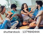 group of young friends eating... | Shutterstock . vector #1379840444
