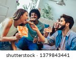 group of young friends eating... | Shutterstock . vector #1379843441