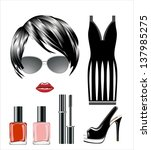 fashion set from a female ... | Shutterstock . vector #137985275