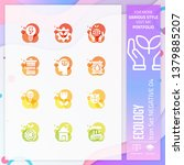 nature icon set vector with...