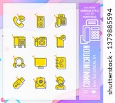 communication icon set with...