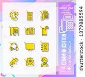 communication icon set with...