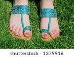 indian blue sandals. | Shutterstock . vector #1379916