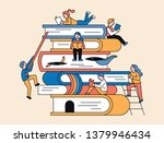 there are huge books piled up... | Shutterstock .eps vector #1379946434