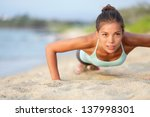 push ups fitness woman doing... | Shutterstock . vector #137998301