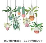 houseplants on macrame hangers... | Shutterstock .eps vector #1379988074