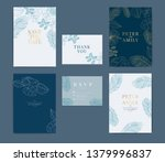 navy wedding invitation  floral ... | Shutterstock .eps vector #1379996837