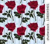 seamless pattern of red flowers ...   Shutterstock .eps vector #1380045401