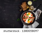 english breakfast   fried egg ... | Shutterstock . vector #1380058097
