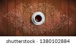 coffee concept on wooden... | Shutterstock .eps vector #1380102884
