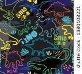 seamless  dino pattern  print... | Shutterstock .eps vector #1380108221