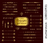 calligraphic gold elements | Shutterstock .eps vector #138010931