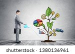 businessman watering drawing... | Shutterstock . vector #1380136961