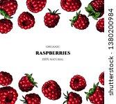 vector frame with raspberries.... | Shutterstock .eps vector #1380200984