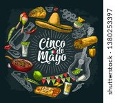 circle shape set with mexican... | Shutterstock .eps vector #1380253397
