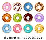 set of cartoon colorful donuts... | Shutterstock .eps vector #1380367901