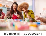 Small photo of Two Mature Women Attending Art Class In Community Centre Together