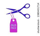 scissors cut old price tag icon....