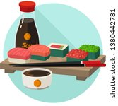 vector icon set of sushi and... | Shutterstock .eps vector #1380442781
