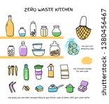 zero waste kitchen doodle...   Shutterstock .eps vector #1380456467
