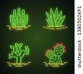 wild cacti in ground neon light ... | Shutterstock .eps vector #1380502691