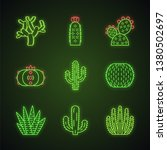 wild cactuses neon light icons... | Shutterstock .eps vector #1380502697